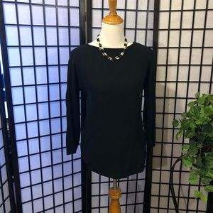 Michael Kors black knit sweater with gold zippers